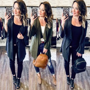 Bell Sleeve Open Front Cardi's- 2 COLORS
