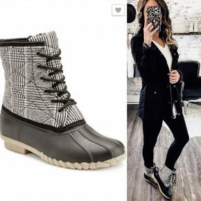 Matte Plaid Lace Up Duck Boot- black