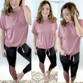 Soft Pink Tie Front Athleisure Top