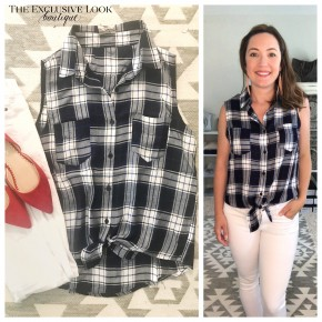 Sleeveless Tie Front Plaid- NAVY