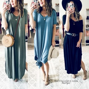 Short Sleeve Side Slit Maxis- 3 COLORS
