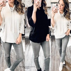 Cowl Neck Pullover Tops- 2 COLORS