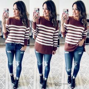 Fall Stripes Knit Sweater- Rust/Ivory