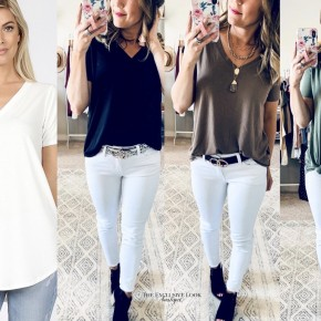 Short Sleeve V-Neck Top- 4 Colors