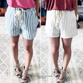 Striped Drawstring Shorts- 2 COLORS