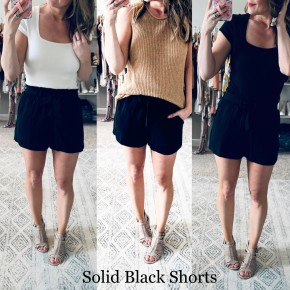 Solid Black Shorts with Tie