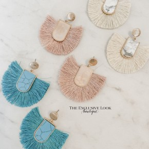 Marble Fan Earrings- 3 COLORS