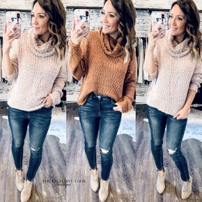 Cowl Neck Knit Sweaters- 2 COLORS
