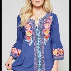 Brye Embroidered Top in Royal