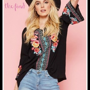 Brye Embroidered Top in Black