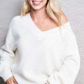 The Ivory Waffle Sweater
