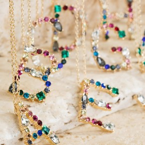 Multicolored Pave Rhinestone Initial Necklaces