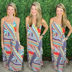 Multi Colored Striped Strappy Maxi Dress