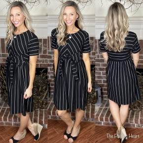 Chevron B&W Striped Dress