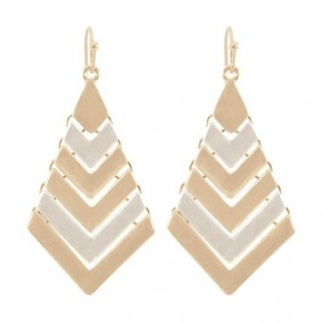 Metal Two Toned Geo Chevron Dangle Earrings