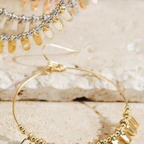 Beaded Metal Ring Hoop Earrings