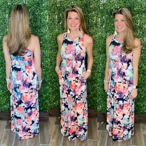 Floral of the Story Racerback Maxi Dress