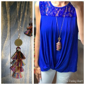 Four Tiered Tassel Drop Necklace - Multi
