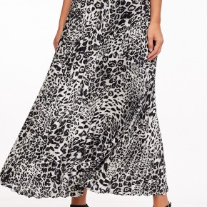 Button Up Pleated Leopard Skirt