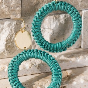 Turquoise Thread Wrapped Circle Dangle Earrings - LMTD//NO RESTOCK!