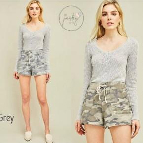 Camo Print Jersey Shorts