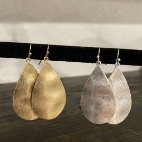 Lightly Hammered Tear Drop Earrings