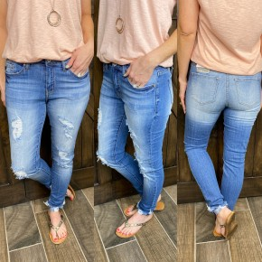 KanCan Distressed Cuffed Skinnies