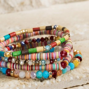 Heishi Disc Bead Bracelet Set