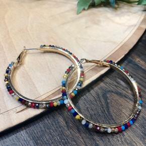 Beaded Multicolor Hoop Earrings