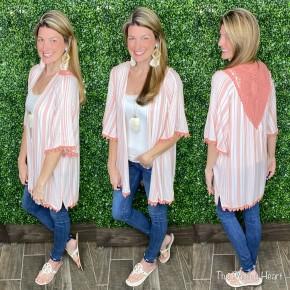 Mable Lace & Stripes Kimono