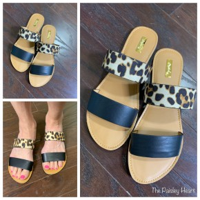 Two Strap Animal Print Slides