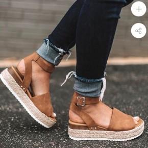 Camel Espadrille Platform Sandals