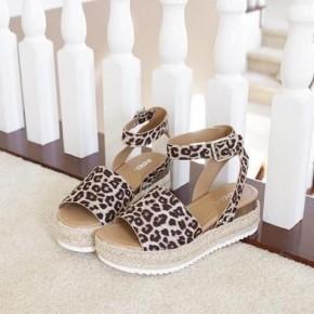 Cheetah Strap Espadrille Platform Sandals