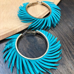 Hoop Leather Fringe Hinge Statement Earrings