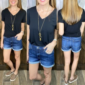 KanCan High Rise Dark Denim Shorts