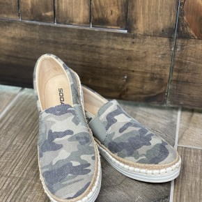 Boho Camo Espadrille Slide On Shoes