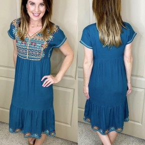 Boho Embroidered Midi Dress
