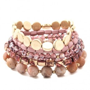 5 Piece Bracelet Set - Burgundy