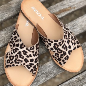 Criss-Cross Leopard Sandals