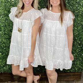 Eyelet Lace Tiered Dress