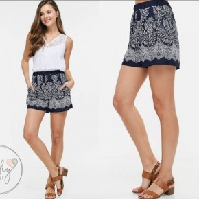 Navy Printed Shorts