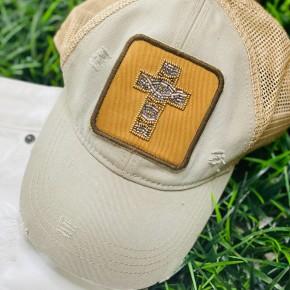 Cross Patch Hat in Grey