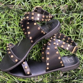 The Studded Wrap Sandal in Black