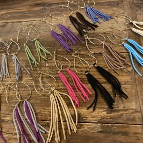 Golden Leather Tassel Earrings
