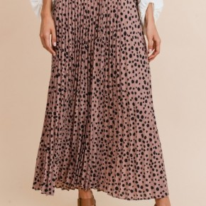 Blush Pleated Dot Maxi Skirt