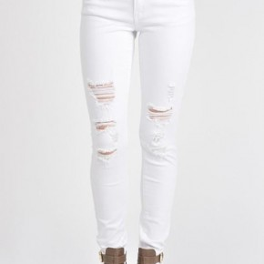 Distressed White Skinnies
