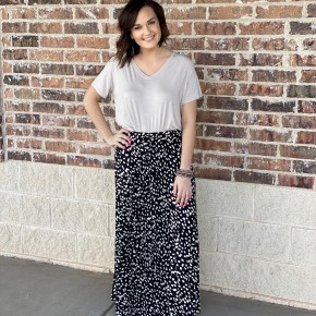 The Pleated Dot Maxi Skirt