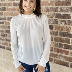 -Button Back Top in White