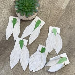 White Herringbone Leather Earrings