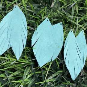 Light Aqua Suede Leather Earrings